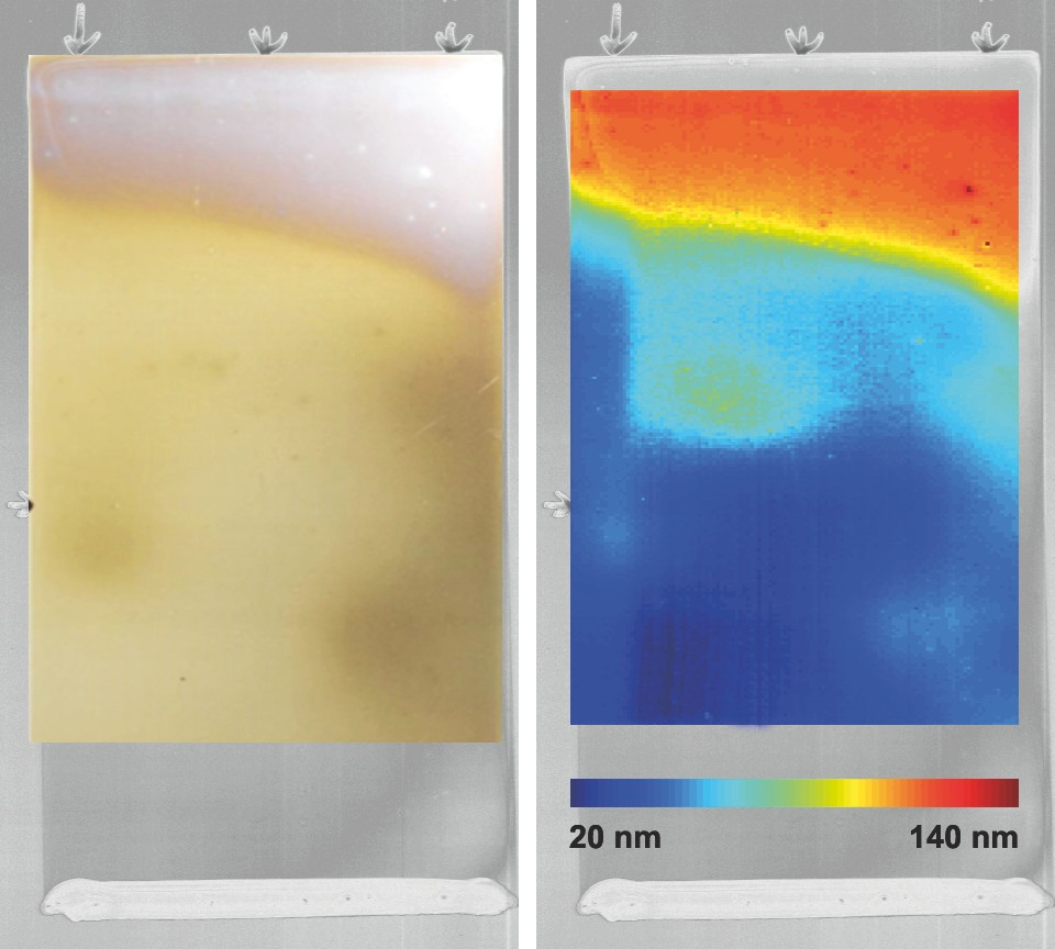 Aluminumoxid thin-on a 10 cm steel sample; left: image in the visual image, right: calculated thickness distribution