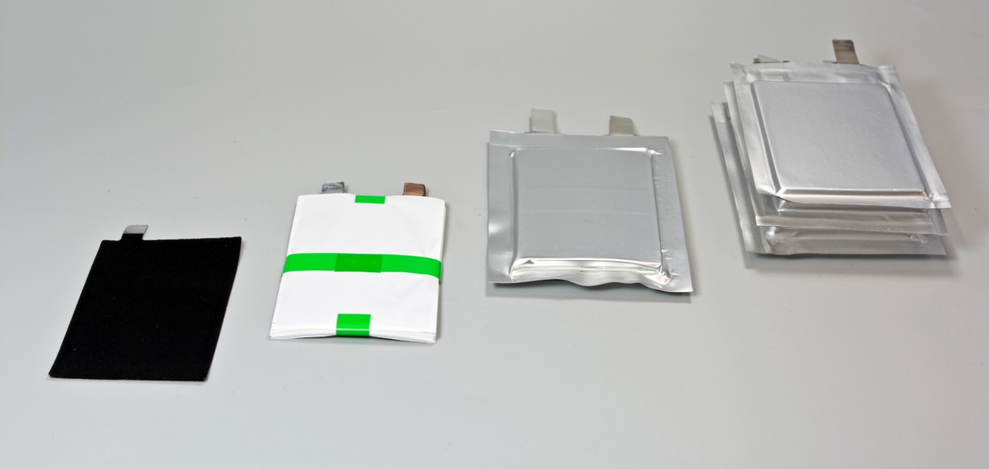 Pouch cell construction in three stages: They are assembled by stacking individual layers of electrodes and separators. This enables industry-oriented material tests for a wide variety of cell systems.